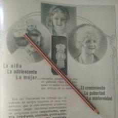 Coleccionismo Papel Varios: RECORTE PRENSA AÑOS 20/1925 PUBLICIDAD HIPOFOSFITOS SALUD LA NIÑA ADOLESCENTE MUJER. Lote 170937323