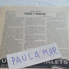Coleccionismo Papel Varios: PICASSO Y JACQUELINE, POR JOSE ROMERO ESCASSI. Lote 171267583