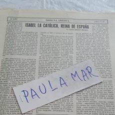 Coleccionismo Papel Varios: ISABEL LA CATOLICA, REINA DE ESPAÑA, POR CARLOS ASENJO SEDANO. Lote 171268049