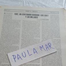 Coleccionismo Papel Varios: 1992, UN CENTENARIO OLVIDADO: LUIS SIRET Y LOS MILLARES. Lote 171268328
