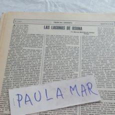 Coleccionismo Papel Varios: LAS LAGUNAS DE OSUNA, POR MANUEL MAZUELOS PEREZ, BIOLOGO. Lote 171268472