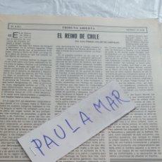 Coleccionismo Papel Varios: EL REINO DE CHILE, POR JULIO PRADO COLON DE CARVAJAL. Lote 171268544