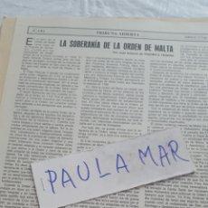 Coleccionismo Papel Varios: LA SOBERANIA DE LA ORDEN DE MALTA, POR JUAN ANTONIO DE YBARRA E YBARRA. Lote 171269163