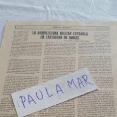 Coleccionismo Papel Varios: LA ARQUITECTURA MILITAR ESPAÑOLA EN CARTAGENA DE INDIAS, POR FRANCISCO ANGEL CAÑETE PAEZ. Lote 171269265