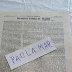 Coleccionismo Papel Varios: FRANCISCO CORREA DE ARAUXO, POR JOSE ENRIQUE AYARRA. Lote 171269432