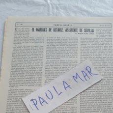 Coleccionismo Papel Varios: EL MARQUES DE UZTARIZ, ASISTENTE DE SEVILLA, POR ANTONIO EGEA LOPEZ. Lote 171269533