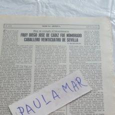 Coleccionismo Papel Varios: FRAY DIEGO DE CADIZ FUE NOMBRADO CABALLERO VEINTICUATRO DE SEVILLA, POR NICOLAS SALAS. Lote 171269612