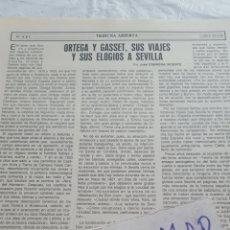 Coleccionismo Papel Varios: ORTEGA Y GASSET, SUS VIAJES Y SUS ELOGIOS A SEVILLA, POR JOSE CABRERA VICENTE. Lote 171269693