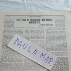 Coleccionismo Papel Varios: FRAY JUAN DE ZUMARRAGA: UNA AURORA INDIGENISTA, POR MANUEL MARIN CAMPOS. REAL ACADEMIA DE CORDOBA. Lote 171269849