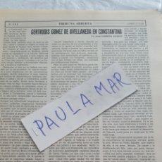 Coleccionismo Papel Varios: GERTRUDIS GOMEZ DE AVELLANEDA, EN CONSTANTINA, POR JOSE CABRERA VICENTE. Lote 171270005