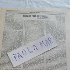 Coleccionismo Papel Varios: RICHARD FORD EN SEVILLA, POR JOSE CABRERA VICENTE. Lote 171270500