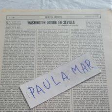 Coleccionismo Papel Varios: WASHINGTON IRVING EN SEVILLA, POR JOSE CABRERA VICENTE. Lote 171270583