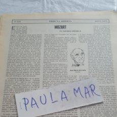 Coleccionismo Papel Varios: MOZART, POR JOSE MARIA GIRONELLA. Lote 171270622