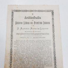 Coleccionismo Papel Varios: DOCUMENTO RELIGIOSO ARCHICOFRADIA PERPETUO SOCORRO Y SAN ALFONSO DE LIGORIO TDKP14. Lote 171772407