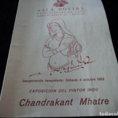 Coleccionismo Papel Varios: EXPOSICION DEL PINTOR CHANDRAKANT MHATRE SALA ROVIRA 1952. Lote 172455298