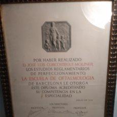 Coleccionismo Papel Varios: DIPLOMA ESCUELA DE OFTALMOLOGIA. BARCELONA. JULIO 1936.. Lote 172641239
