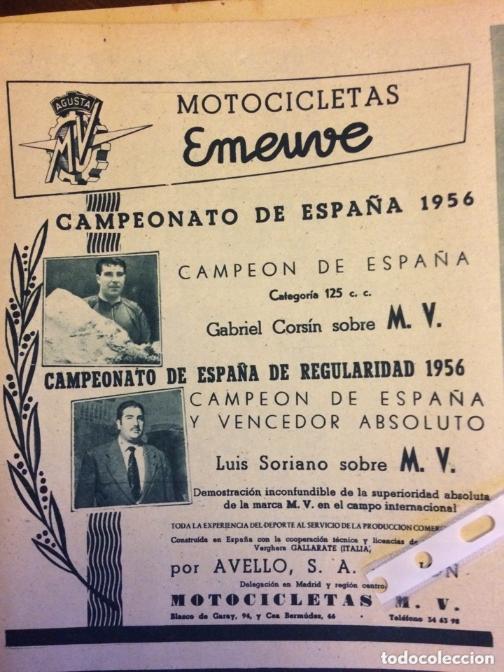 PUBLICIDAD MOTO MV EMEUVE DE 1956 (Coleccionismo en Papel - Varios)