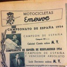 Coleccionismo Papel Varios: PUBLICIDAD MOTO MV EMEUVE DE 1956. Lote 172732175