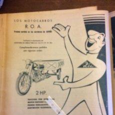 Coleccionismo Papel Varios: PUBLICIDAD MOTOCARRO ROA Y MOTO SANGLAS DE 1957. Lote 172732277