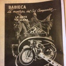 Coleccionismo Papel Varios: PUBLICIDAD MOTO ROA ONIEVA DE 1955. Lote 172732393