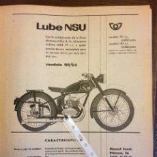 Coleccionismo Papel Varios: PUBLICIDAD MOTO LUBE NSU DE 1955. Lote 172732459