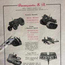 Coleccionismo Papel Varios: PUBLICIDAD TRACTORES FINANZAUTO DE 1953. Lote 172925087