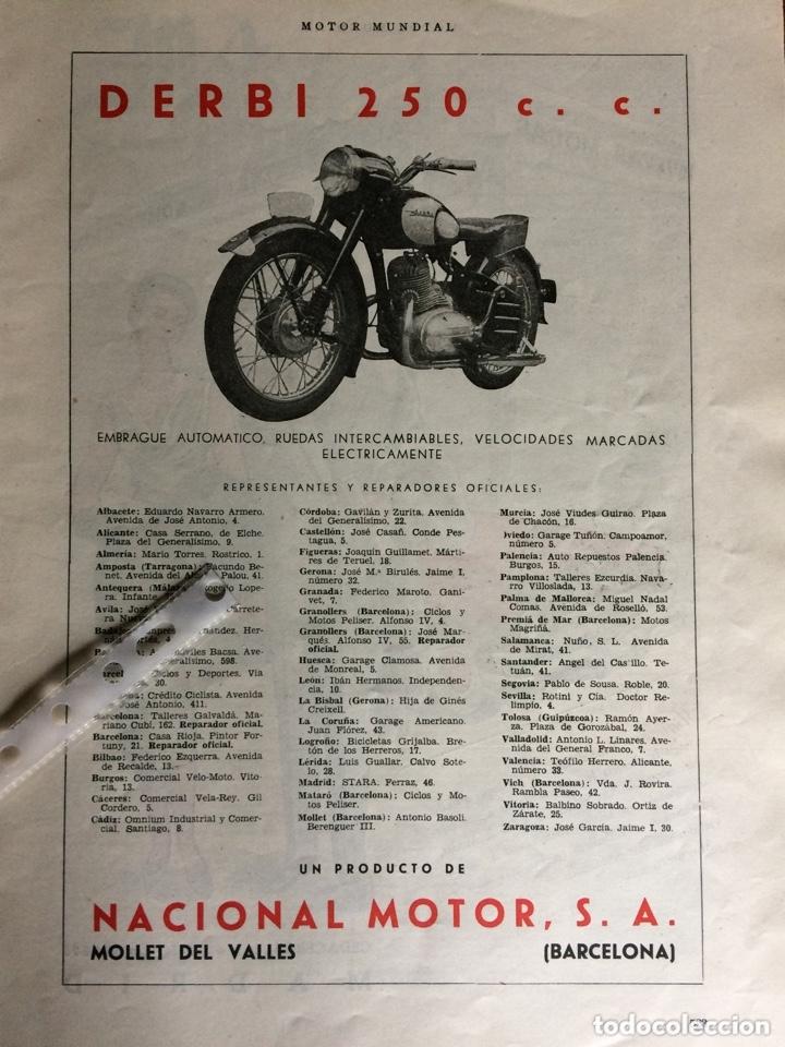 PUBLICIDAD MOTO DERBI DE 1953 (Coleccionismo en Papel - Varios)