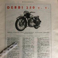Coleccionismo Papel Varios: PUBLICIDAD MOTO DERBI DE 1953. Lote 172925125