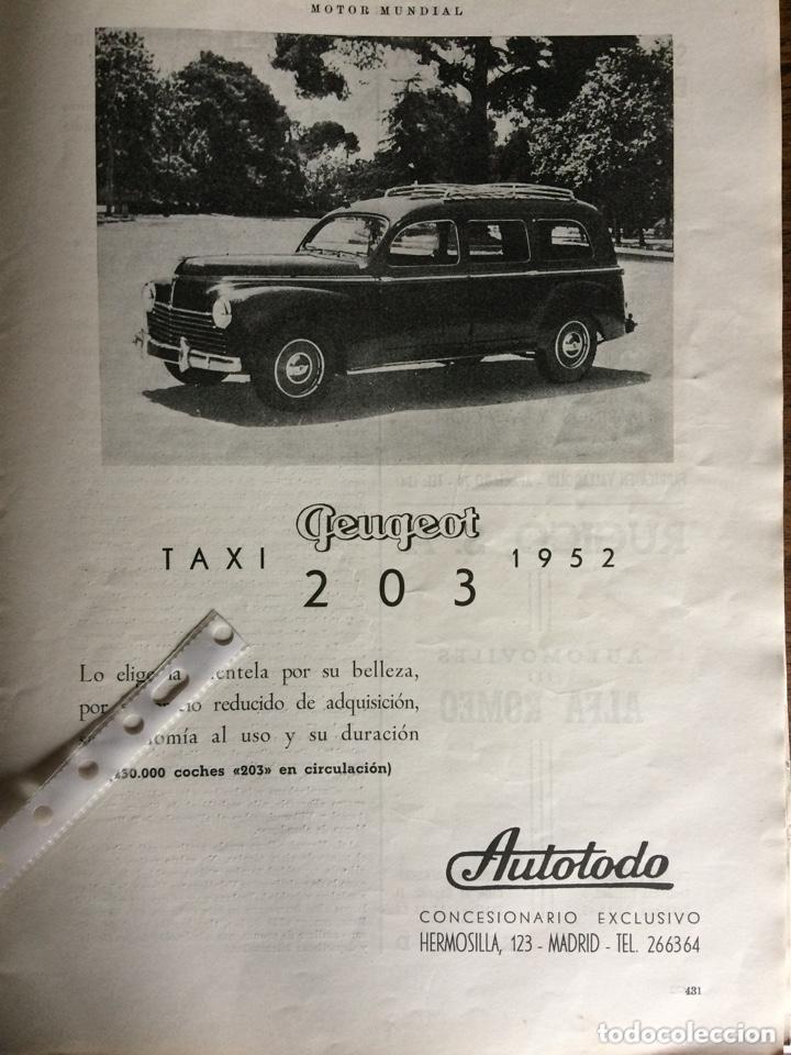 PUBLICIDAD AUTOMÓVIL PEUGEOT 203 DE 1952 (Coleccionismo en Papel - Varios)