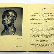 Coleccionismo Papel Varios: RECORDATORIO FUNEBRE DEL FUNERAL DEL ARQUITECTO PUIG I CADAFALCH - MATARÓ - 1956/1957. Lote 172946613