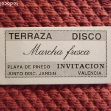 Coleccionismo Papel Varios: FLYER PUB MARCHA FRESCA VALENCIA AÑOS 80 PINEDO. Lote 172960480