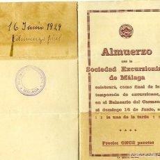 Coleccionismo Papel Varios: TARJETA ALMUERZO DE LA SOCIEDAD EXCURCIONISTA DE MALAGA AÑO 1929 EN LOS BAÑOS DEL CARMEN DE MALAGA .. Lote 173492625