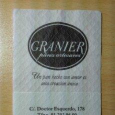 Coleccionismo Papel Varios: SERVILLETA DE PAPEL - GRANIER - DOCTOR ESQUERDO / MADRID. Lote 173606589