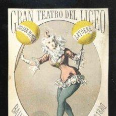 Coleccionismo Papel Varios: ENTRADA DE BAILE DEL GRAN TEATRO DEL LICEO DE BARCELONA. Lote 173836875