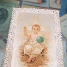 Coleccionismo Papel Varios: ANTIGUA ESTAMPA ESPECIAL RELIGIOSA NIÑO JESUS PUNTILLA . Lote 173959203