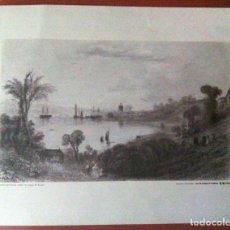 Coleccionismo Papel Varios: LITOGRAFÍA VISTA DE PALOS, HUELVA. REPRODUCCIÓN DE CAJASUR. DIMENSIONES: 41 X 31 CM. Lote 173971589