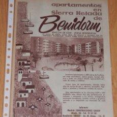 Coleccionismo Papel Varios: PUBLICIDAD DEL AÑO 1961 - BENIDORM. Lote 174033955