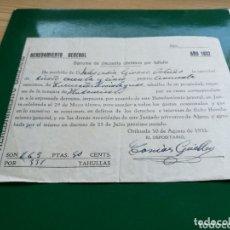 Coleccionismo Papel Varios: RECIBO HEREDAMIENTO GENERAL DE AGUA DE ORIHUELA. 1932. Lote 174246688