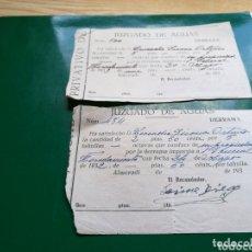 Coleccionismo Papel Varios: DOS RECIBOS DEL JUZGADO DE AGUAS DE ALMORADÌ (ALICANTE). AÑOS 30. Lote 174247512