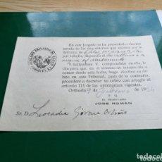Coleccionismo Papel Varios: DOCUMENTO DEL JUZGADO PRIVATIVO DE AGUAS DE ORIHUELA. 1934. Lote 174247587