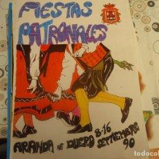 Coleccionismo Papel Varios: PROGRAMA DE FIESTAS DE ARANDA DE DUERO AÑO 1990. Lote 174337170
