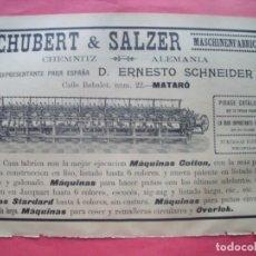 Coleccionismo Papel Varios: SCHUBERT Y SALZER.-ERNESTO SCHNEIDER.-MAQUINARIA.-ANUARIO DEL COMERCIO.-PUBLICIDAD.-MATARO.-AÑO 1905. Lote 174410689