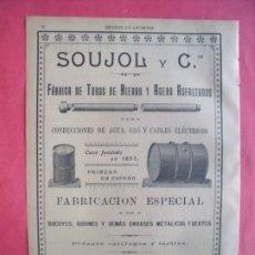 Coleccionismo Papel Varios: SOUJOL Y CIA.-FABRICA DE TUBOS DE HIERRO Y ACERO ASFALTADOS.-BIDONES.-PUBLICIDAD.-BARCELONA.AÑO 1905. Lote 174410880