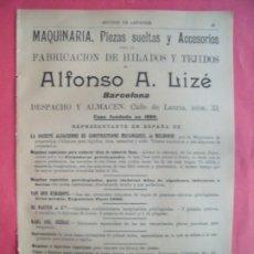 Coleccionismo Papel Varios: ALFONSO A. LIZE.-FABRICACION DE HILADOS Y TEJIDOS.-MAQUINAS DE HILAR.-PUBLICIDAD.-BARCELONA.AÑO 1905. Lote 174411250