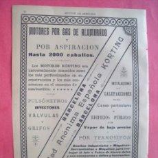 Coleccionismo Papel Varios: KORTING.-MOTORES POR GAS DE ALUMBRADO.-PULSOMETROS.-CALEFACCIONES.-PUBLICIDAD.-ALEMANIA.-AÑO 1905.. Lote 174411339