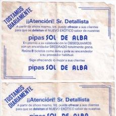 Coleccionismo Papel Varios: 2 FOLLETOS O BOLETO PUBLICITARIOS PIPAS SOL DE ALBA AÑOS 80 GRANADA - PARTE TRASERA DIFERENTE. Lote 175713984