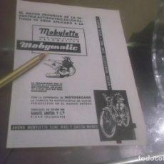 Coleccionismo Papel Varios: RECORTE PUBLICIDAD AÑOS 50/60 - MOTO- MOBYLETTE -GARATE ANITUA Y CIA - EIBAR (GUIPÚZCOA). Lote 175998247