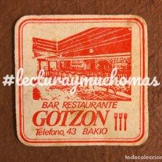 Coleccionismo Papel Varios: ANTIGUO POSAVASOS DEL BAR RESTAURANTE GOTZON DE BAKIO (BIZKAIA). 8 X 8 CMS.. Lote 176020290