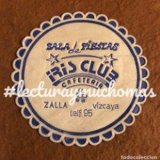 Altri oggetti di carta: ANTIGUO POSAVASOS DE LA SALA DE FIESTAS IRIS CLUB CAFETERÍA DE ZALLA (BIZKAIA). DE PAPEL. Lote 176023089