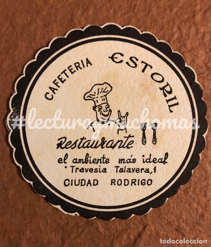 ANTIGUO POSAVASOS DE LA CAFETERÍA RESTAURANTE ESTORIL DE CIUDAD RODRIGO (SALAMANCA). 8 CMS DE Ø (Coleccionismo en Papel - Varios)